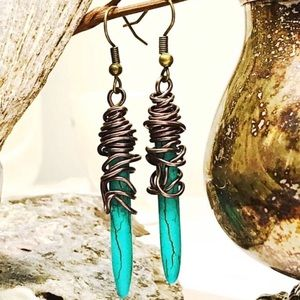 BOGO💫Wire Wrapped Bronzed Turquoise Spikes